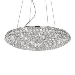 Ideal Lux - King - King SP12 - Elegante lampada a sospensione con cristalli